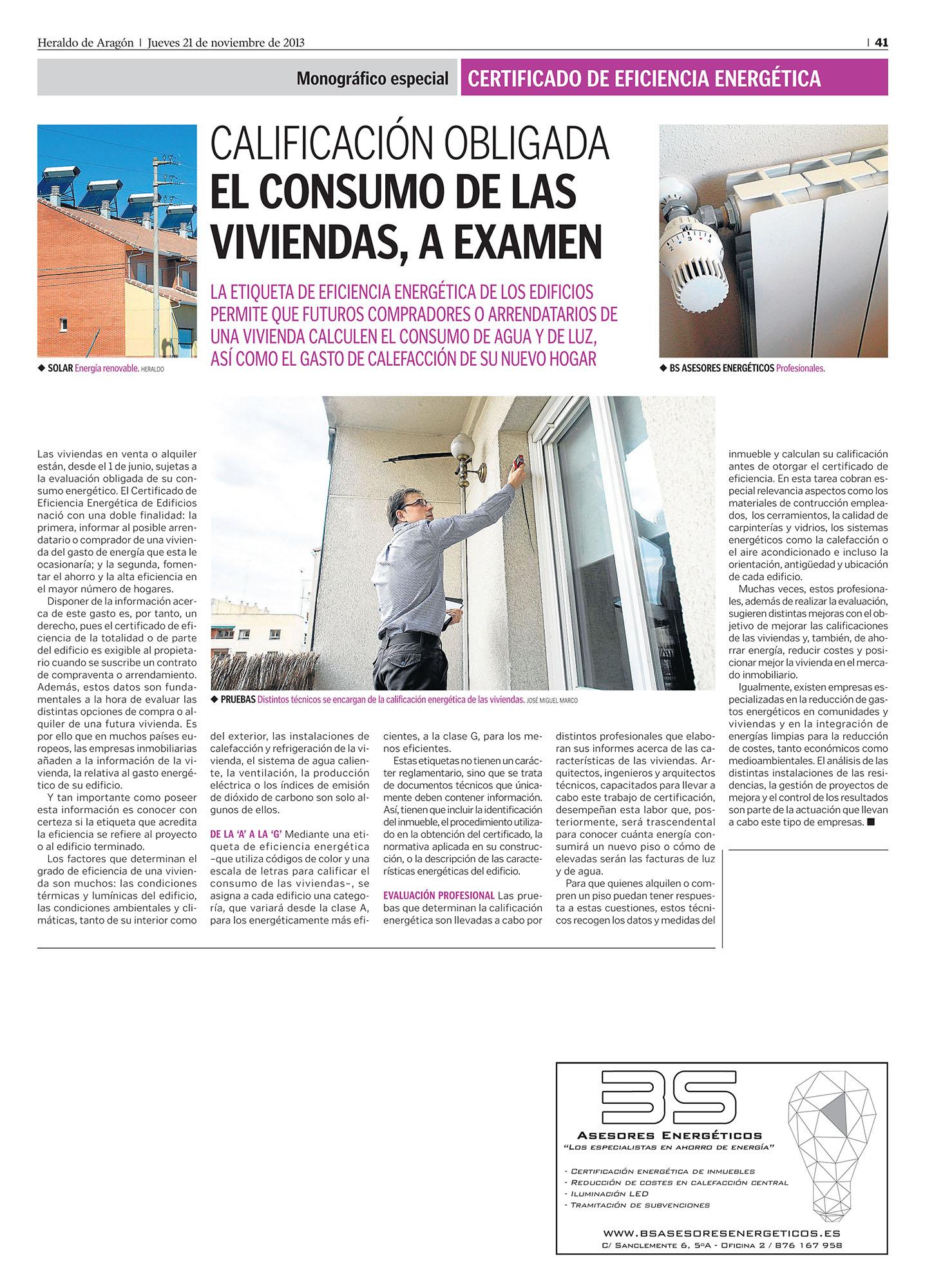 Heraldo de Aragón – BS Asesores Energéticos – Certificación energética – Certificado energético