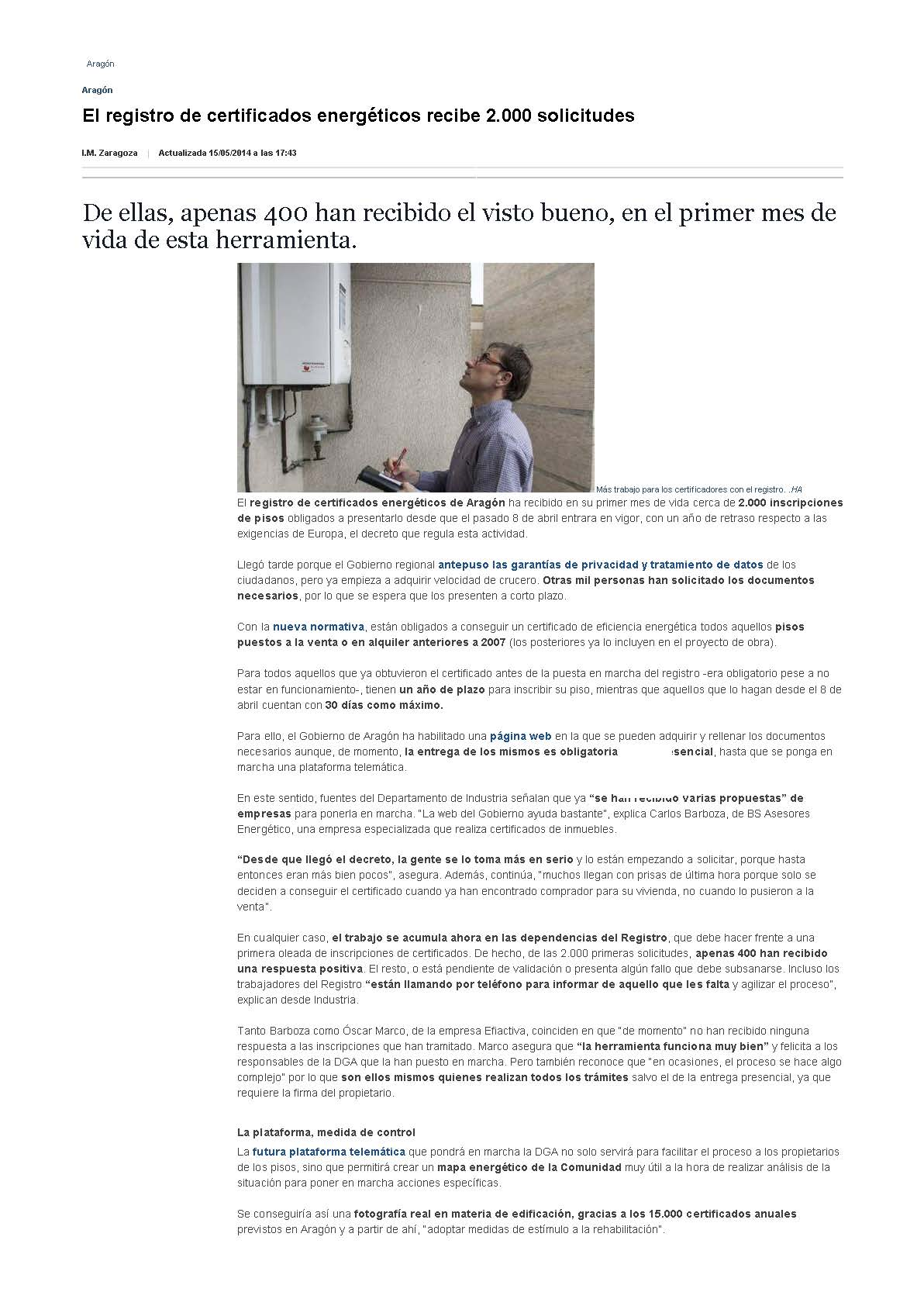 Heraldo de Aragón, BS Asesores Energéticos, Registro certificados energéticos / 15-05-2014