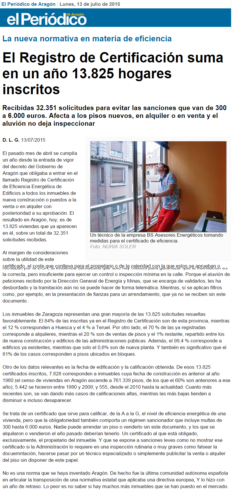 BS Asesores Energéticos_El Periódico de Aragón_Registro de Certificados energéticos